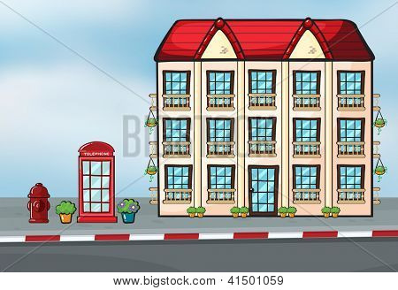Illustration of a large house and a callbox near the street