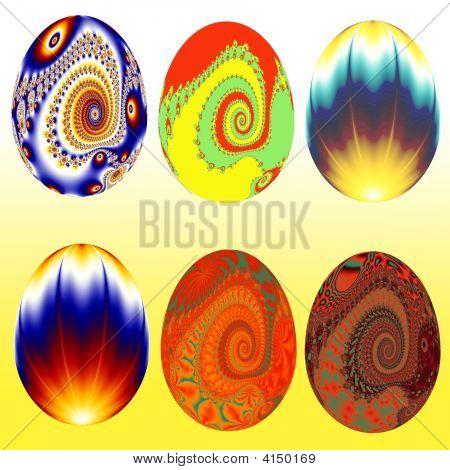 Six Decorative Easter Eggs