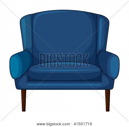 Ilustración de una silla de cojín azul sobre un fondo blanco
