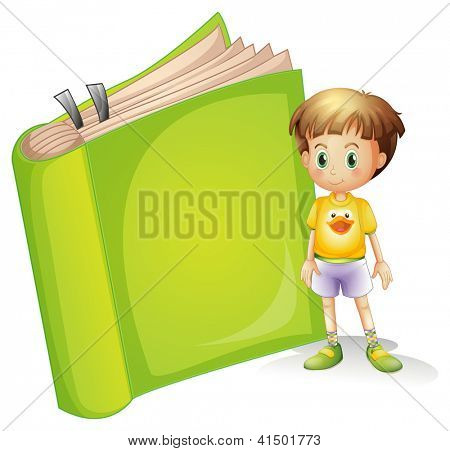 Illustration of a boy and a book on a white background