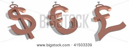 Dollar, euro and pound tags