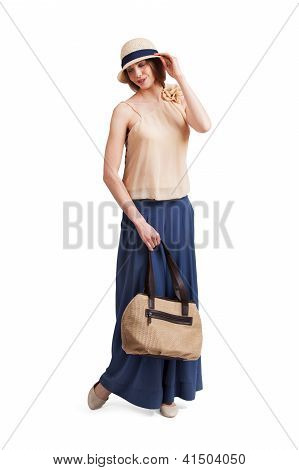 Flirtatious Girl In Retro Dress
