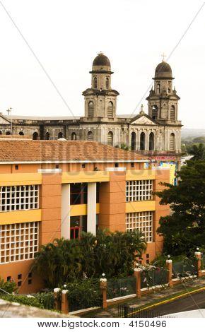 Presidential Office La Casa De Los Pueblos And Old Cathedral Managua Nicaragua