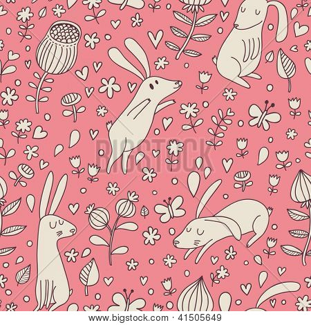 Rabbits on flower meadow. Cartoon seamless pattern with nice cute hares in vector.