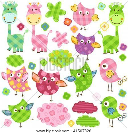 cute happy birds & giraffes set for babies