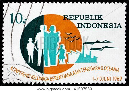Postage Stamp Indonesia 1969 Family, Birds And Factories