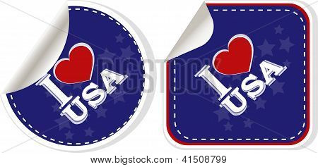 Stickers Set I Love Usa With Heart
