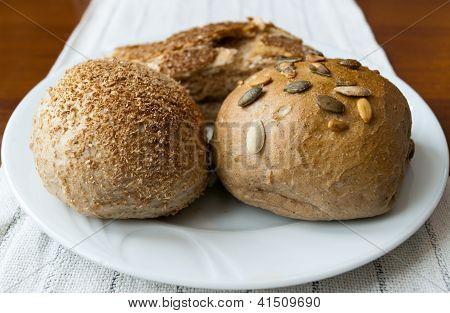 Fresh Pastries Closeup On White Plate
