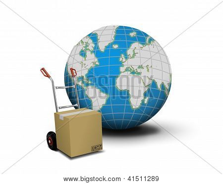 Hand truck with box and globe