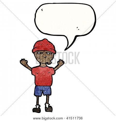 cartoon boy with speech bubble