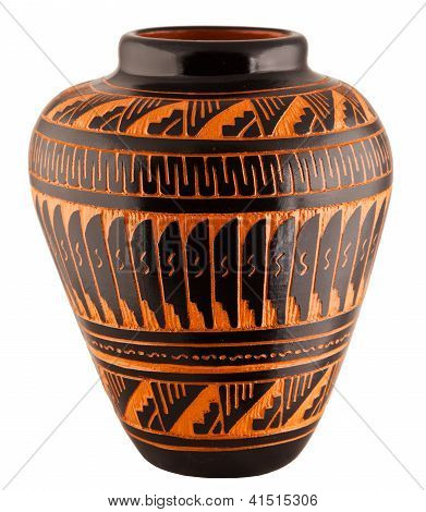 Navajo Native American Clay Pottery Vase