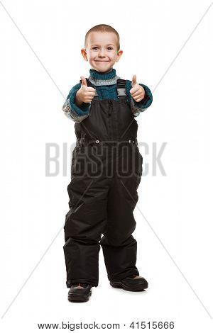 Niño niño sonriente manos gesticular pulgar signo de éxito
