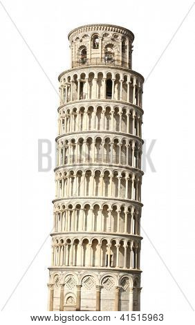 Schiefe Turm von Pisa. Isolated over white
