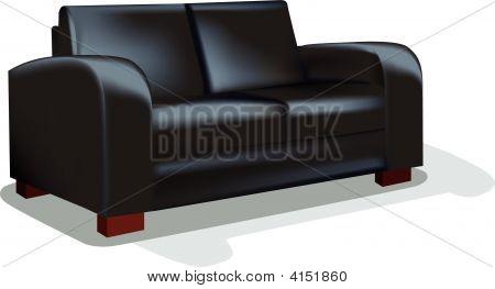 Dark Sofa Over White Backgrund