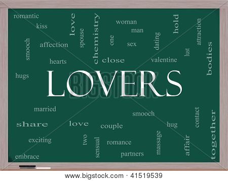 Lovers Word Cloud Concept On A Blackboard