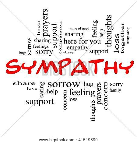 Sympathy Word Cloud Concept In Red Caps