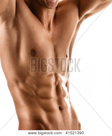 Sexy muscular body of athletic man, isolated on white