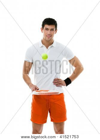 Sporty man playing tennis, isolated