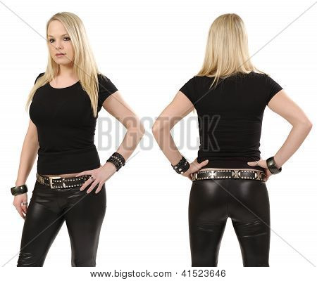 Blond Woman Posing With Blank Black Shirt