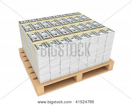 Stack Of Money With Pallete