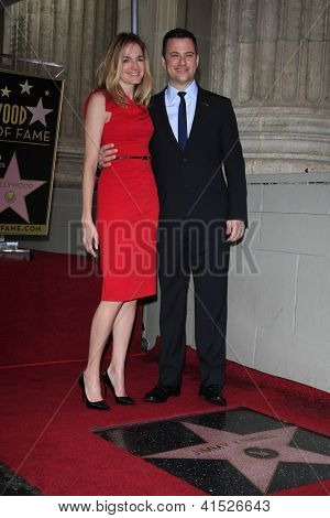 LOS ANGELES - JAN 25: Molly McNearney, Jimmy Kimmel at a ceremony where  Jimmy Kimmel is honored with a star on the Hollywood Walk of Fame on January 25, 2013 in Los Angeles, California