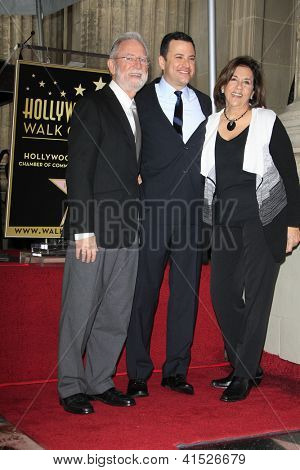 LOS ANGELES - JAN 25: Jimmy Kimmel, his parents at a ceremony where  Jimmy Kimmel is honored with a star on the Hollywood Walk of Fame on January 25, 2013 in Los Angeles, California