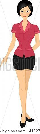 Illustration of an Asian Girl Wearing a Red Button Down Blouse Paired with a Black Mini Skirt
