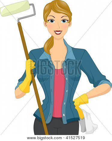 Illustration of a Woman Wearing Gloves Holding a Roller Brush