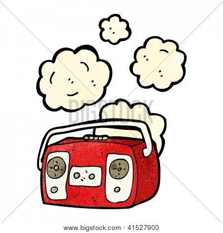 cartoon dusty old radio player