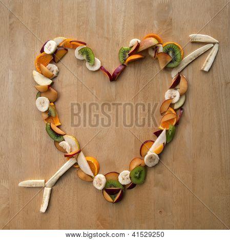 Fruit Heart Arrow! Valentine's Day Love - Health, Fresh, 5-a-day!