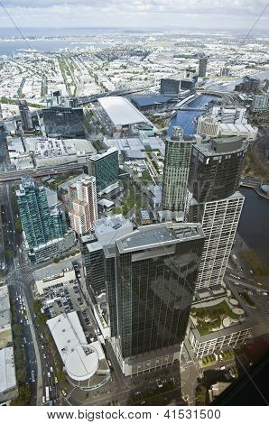Beautiful Cityscape Of Melbourne, Australia. Aerial View From Skyscraper.