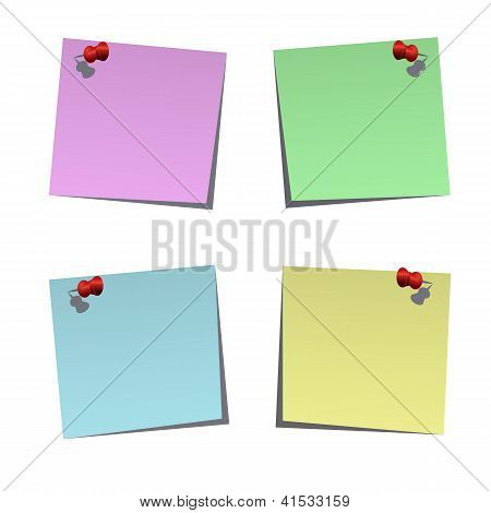 Set Of Blank Post-it Notes With Push Pins