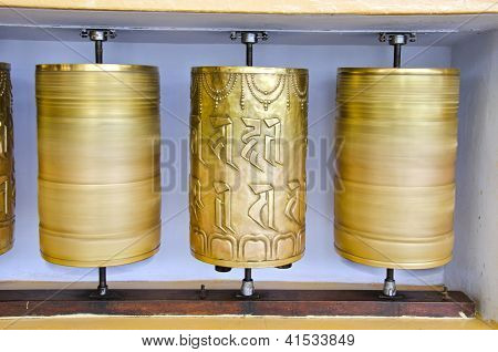Tibetan Buddhist Prayer  Wheels In Mcleod Ganj Temple, India