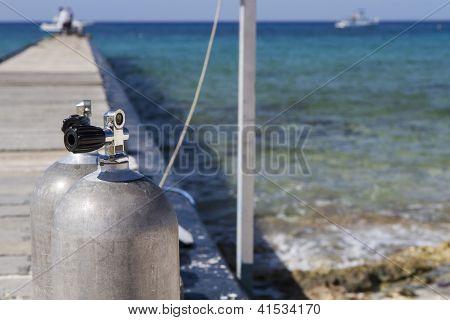Oxygen tanks for diving