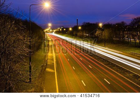 Traffic Light Trails Into Newcastle