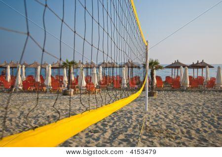 Beach Volleyball Net On A Beach