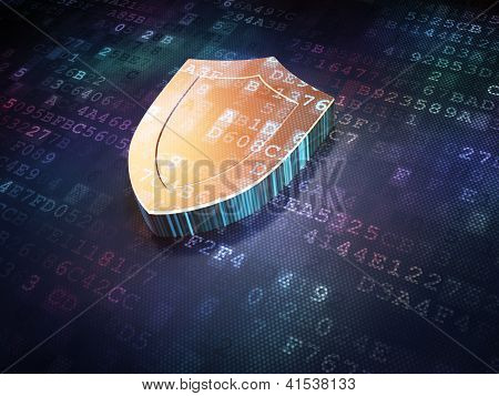 Protection concept: Golden Shield on digital background
