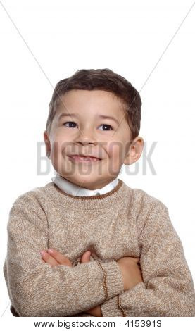Five Year Old Boy In Tan Sweater