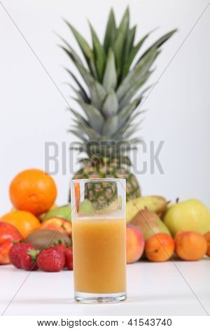 A glass of multivitamin juice