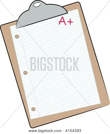 Clip Board With Lined Paper And A Plus.