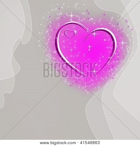 Abstract Gray Background With Pink Heart And Stars And Space For Text