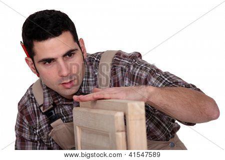 Carpenter with cabinet doors