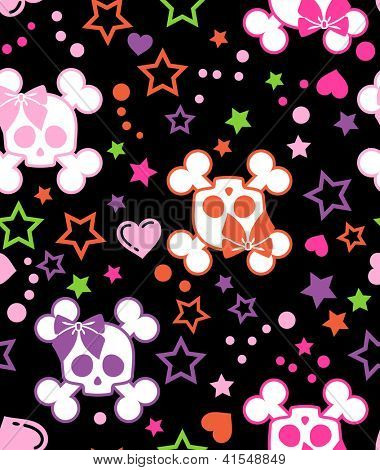 seamless girly scull background