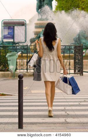 Back Of Woman Shopping In Paris