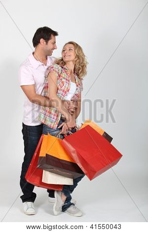 Couple on a shopping frenzy.