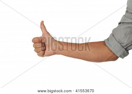 Arm and hand giving a thumbs up