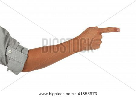 Arm and hand pointing to the side