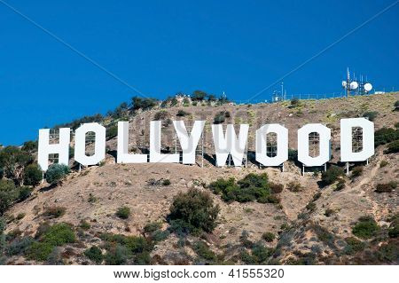 Hollywood Sign On Santa Monica Mountains In Los Angeles