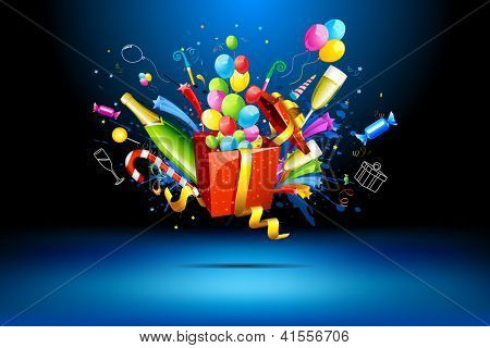 illustration of gift box with champagne bottle and balloons
