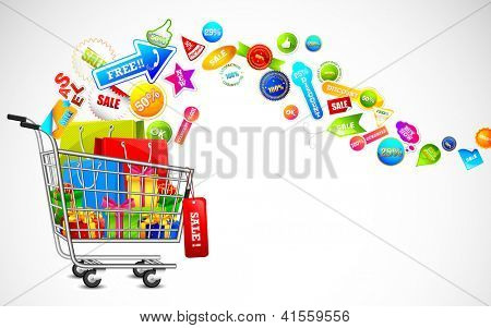 illustration of cart full of shopping bag and gift box with sale tag